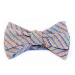 ZB Savoy Tan Purple Blue Striped Bow Tie